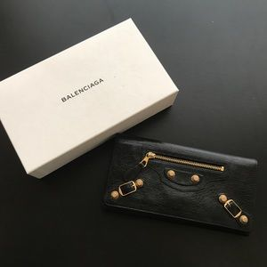 Balaenciaga Large Money Wallet - black gold